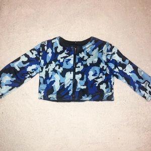 blue camo print rave top